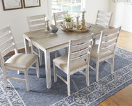 Skempton White/Light Brown Dining Room Table Set (7/CN)