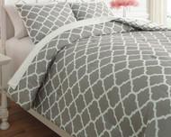 Media Gray/White Twin Comforter Set