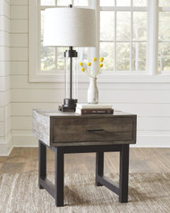 Mondoro Grayish Brown Square End Table