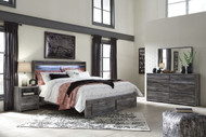 Baystorm Gray 5 Pc. Chest & King Panel Bed with Footboard Storage