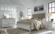 Kanwyn Whitewash 5 Pc. Dresser, Mirror & King Panel Upholstered Bed