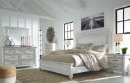 Kanwyn Whitewash 7 Pc. Dresser, Mirror, California King Panel Bed & 2 Nightstands