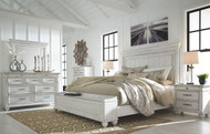 Kanwyn Whitewash 7 Pc. Dresser, Mirror, California King Panel Bed with Storage & 2 Nightstands