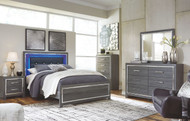 Lodanna Gray 7 Pc. Dresser, Mirror, Queen Panel Bed & 2 Nightstands