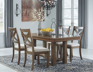 Moriville Grayish Brown 5 Pc. Rectangular DRM EXT Table & 4 UPH Side Chairs