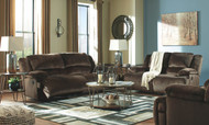 Clonmel Chocolate Reclining Sofa, Reclining Loveseat & Zero Wall Wide Seat Recliner