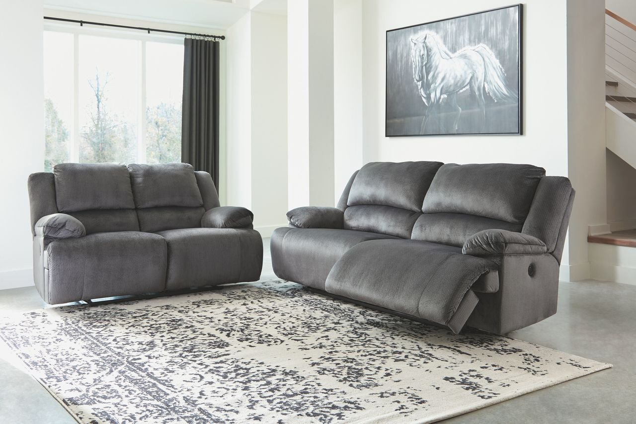 The Clonmel Charcoal 2 Seat Reclining Sofa & Reclining Loveseat sold ...