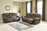 Earhart Chestnut REC Sofa & DBL REC Loveseat with Console