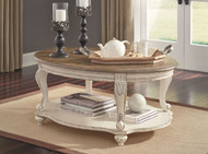 Realyn White/Brown Oval Cocktail Table