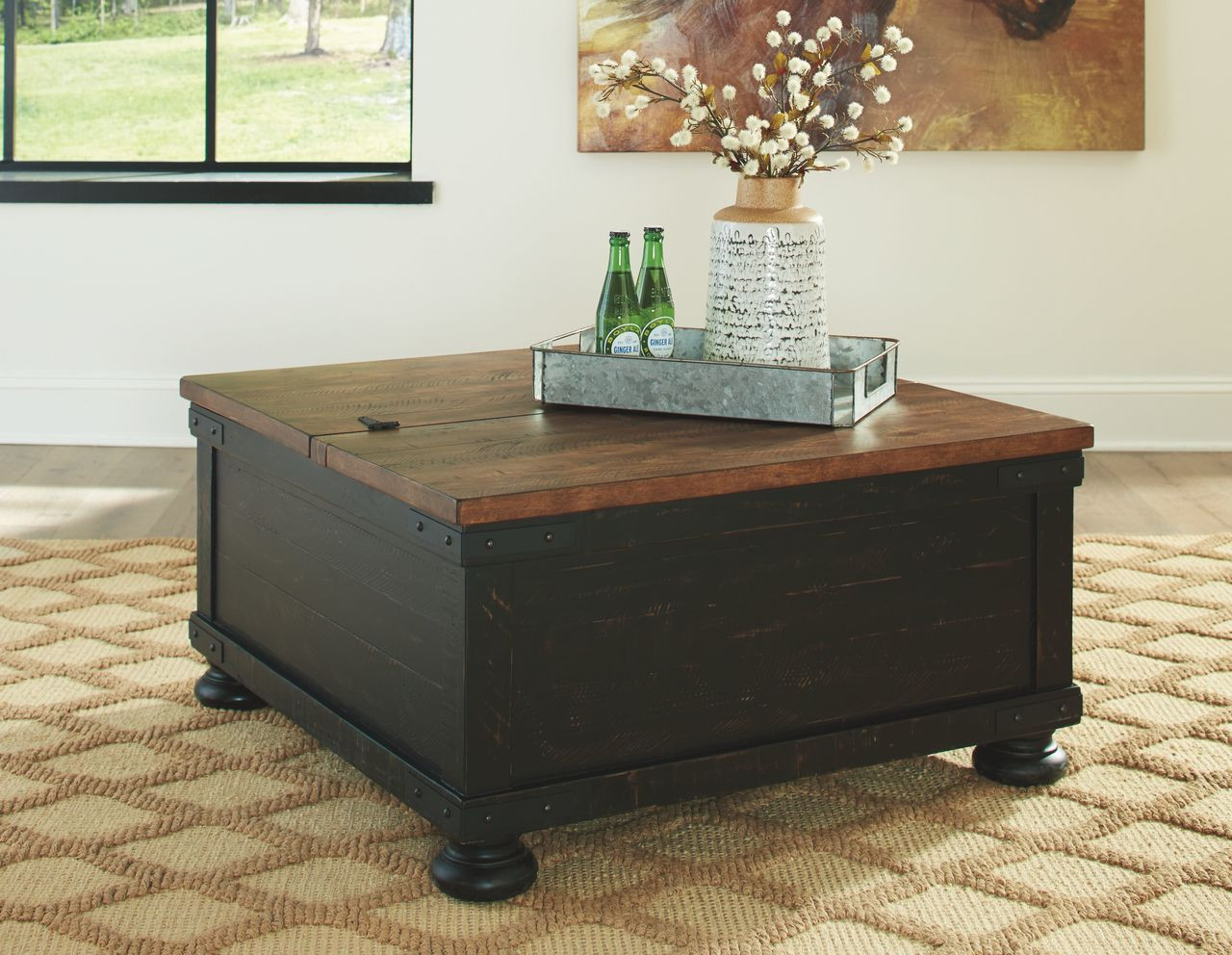 The Valebeck Black Brown Square Lift Top Cocktail Table Sold At