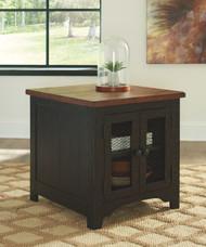 Valebeck Black/Brown Rectangular End Table