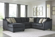 Eltmann Slate LAF Corner Chaise, Armless Loveseat & RAF Sofa with Corner Wedge Sectional