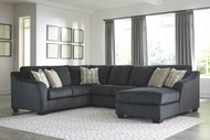 Eltmann Slate LAF Sofa with Corner Wedge, Armless Loveseat & RAF Corner Chaise Sectional