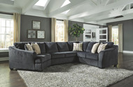 Eltmann Slate LAF Cuddler, Armless Loveseat & RAF Sofa with Corner Wedge Sectional