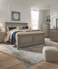 Lettner Light Gray 7 Pc. Dresser, Mirror, King Panel Bed & 2 Nightstands