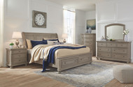 Lettner Light Gray 7 Pc. Dresser, Mirror, California King Sleigh Bed with Storage & 2 Nightstands