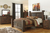 Quinden Dark Brown 8 Pc. Dresser, Mirror, Chest, King Poster Bed & Nightstand