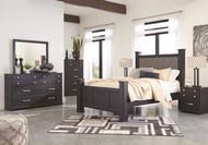 Reylow Dark Brown 5 Pc. Dresser, Mirror & Queen Upholstered Poster Bed