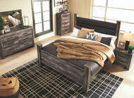 Wynnlow Gray 9 Pc. Dresser, Mirror, Chest, King Poster Bed & 2 Nightstands