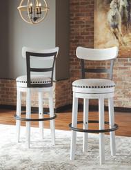 Valebeck White Tall Upholstered Swivel Barstool(1/CN)
