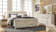 Bellaby Whitewash 9 Pc. Dresser, Mirror, Chest, King Panel Storage Bed & 2 Nightstands