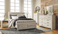 Bellaby Whitewash 8 Pc. Dresser, Mirror, Queen Panel Storage Bed & 2 Nightstands