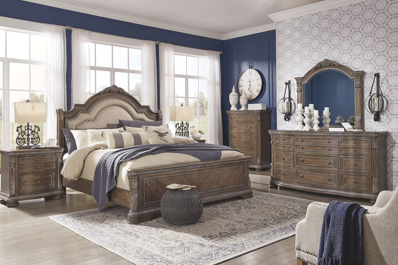 The Charmond Brown 7 Pc Dresser Mirror Queen Upholstered Sleigh Bed 2 Nightstands Sold At Bailey S Furniture Serving Dallas Tx And Surrounding Areas
