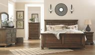 Flynnter Medium Brown 7 Pc. Dresser, Mirror, Chest, California King Panel Bed & Nightstand