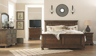 Flynnter Medium Brown 5 Pc. Dresser, Mirror & King Panel Bed