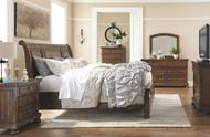 Flynnter Medium Brown 5 Pc. Dresser, Mirror & California King Sleigh Bed with Storage