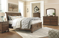 Flynnter Medium Brown 6 Pc. Dresser, Mirror, California King Sleigh Bed with Storage & Nightstand