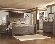 Juararo Dark Brown 7 Pc. Dresser, Mirror, King Poster Bed & 2 Nightstands