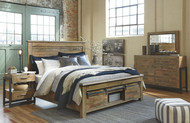 Sommerford Brown 5 Pc. Dresser, Mirror & King Storage Bed