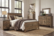 Trinell Brown 7 Pc. Dresser with Fireplace Option, Mirror, Chest, Queen Panel Bed & Nightstand