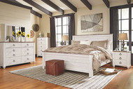 Willowton Whitewash 7 Pc. Dresser, Mirror, California King Panel Bed & 2 Nightstands