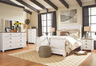 Willowton Whitewash 5 Pc. Dresser, Mirror & Queen Sleigh Bed