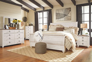 Willowton Whitewash 5 Pc. Dresser, Mirror & King Sleigh Bed
