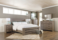 Zelen Warm Gray 7 Pc. Dresser, Mirror, King Poster Bed & 2 Nightstands