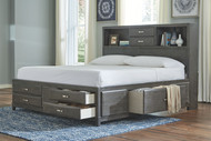 Caitbrook Gray King Storage Bed