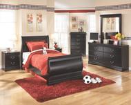 Huey Vineyard Black 7 Pc. Dresser, Mirror, Twin Sleigh Bed & 2 Nightstands