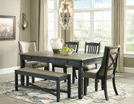 Tyler Creek Black/Gray 6 Pc. Rectangular Table, 2 Upholstered Side Chairs, 2 Upholstered Side Chairs & Upholstered Bench
