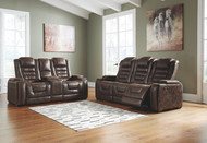 Game Zone Bark Power Reclining Sofa with ADJ HDRST & Power Reclining Loveseat CON/ADJ HDRST