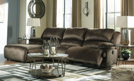 Clonmel Chocolate LAF Press Back Chaise, Armless Chair & RAF Zero Wall Recliner Sectional