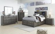Caitbrook Gray 5 Pc. Dresser, Mirror & Full Storage Bed