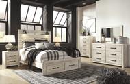 Cambeck Whitewash 6 Pc. Dresser, Mirror, Chest & Queen Panel Bed with Storage