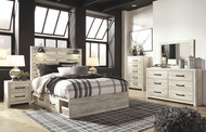 Cambeck Whitewash 6 Pc. Dresser, Mirror & Queen Panel Bed with Side Storage