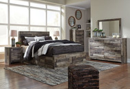 Derekson Multi Gray 9 Pc. Dresser, Mirror, Queen Panel Storage Bed & 2 Nightstands