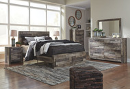 Derekson Multi Gray 8 Pc. Dresser, Mirror, Queen Storage Footboard Bed & 2 Nightstands