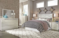 Dreamur Champagne 6 Pc. Dresser, Mirror, Chest, Queen Panel Headboard & 2 Nightstands