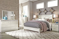 Dreamur Champagne 6 Pc. Dresser, Mirror, Queen Panel Bed & 2 Nightstands